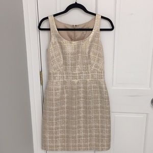 Gold and white shift dress